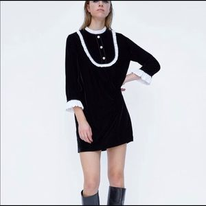 Zara Black Velvet Bib White Ruffle Dress Medium